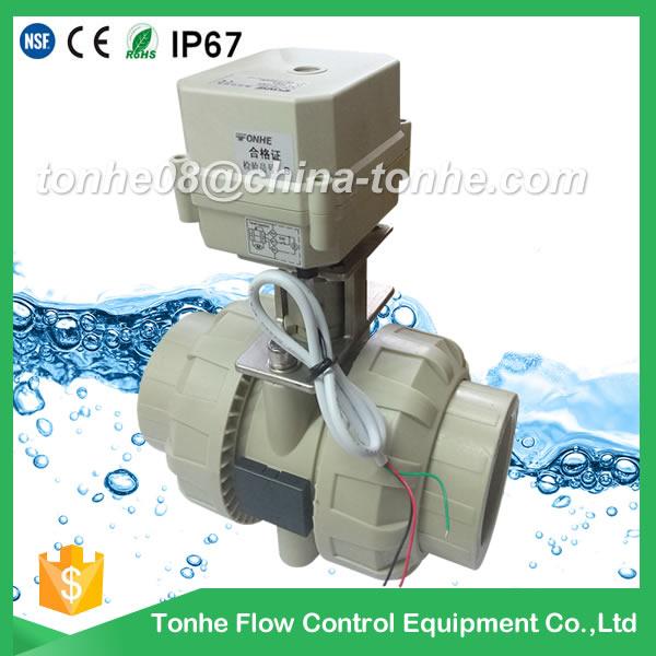 A100-T50-P2-C PP PVC plastic motorized valve DN50 no thread Solvent socket type