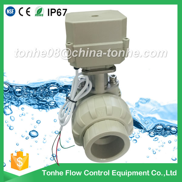 A100-T40-P2-C DN40 DIN PP PVC motorized valve CR3 03 AC110-230v