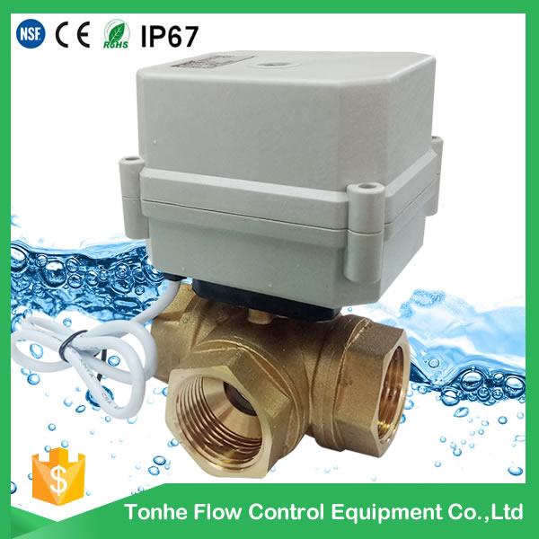 A100-T25-B3-C 3 way DN25 brass horizontal type motorized valve
