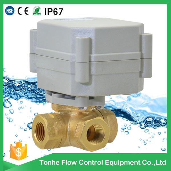 A20-T8-B3-C DN8 3 way motorized valve T L type electric valve