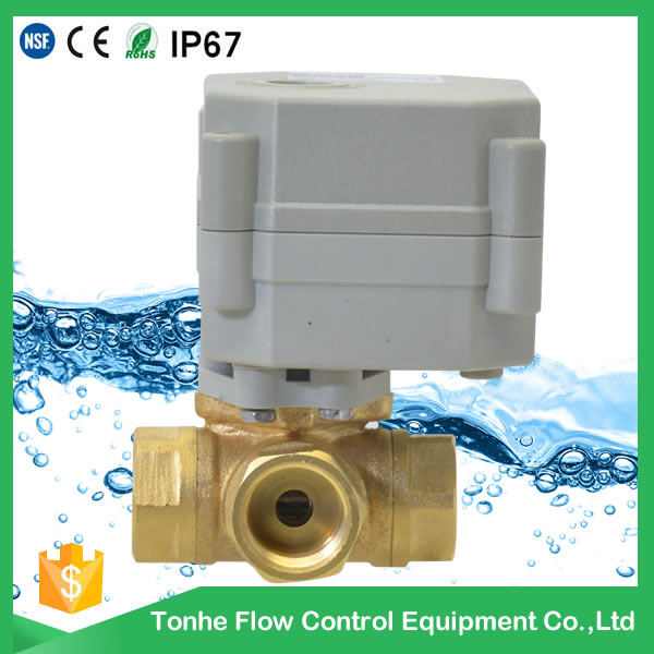 A20-T10-B3-C 3 way motorized ball valve DN10 horizontal type DC12v DC24v