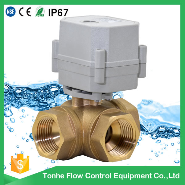 A20-T25-S2-C 3 way T L type brass 1 inch horizontal motorized valve