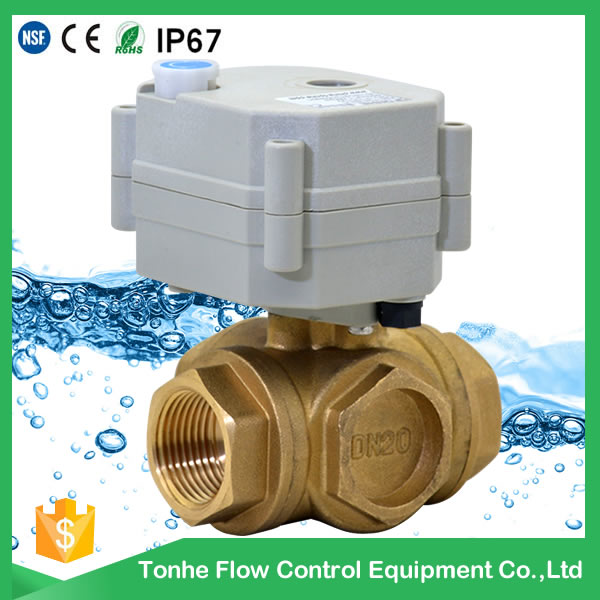 A20-T20-B3-B 3 way motorized ball valve dn20 DC 9-24V with manual override