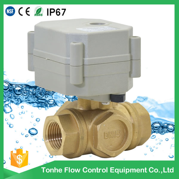 A20-T15-B3-C 3 way motorized ball valve dn15 Brass CR202 2 Wires Electric Ball Valve