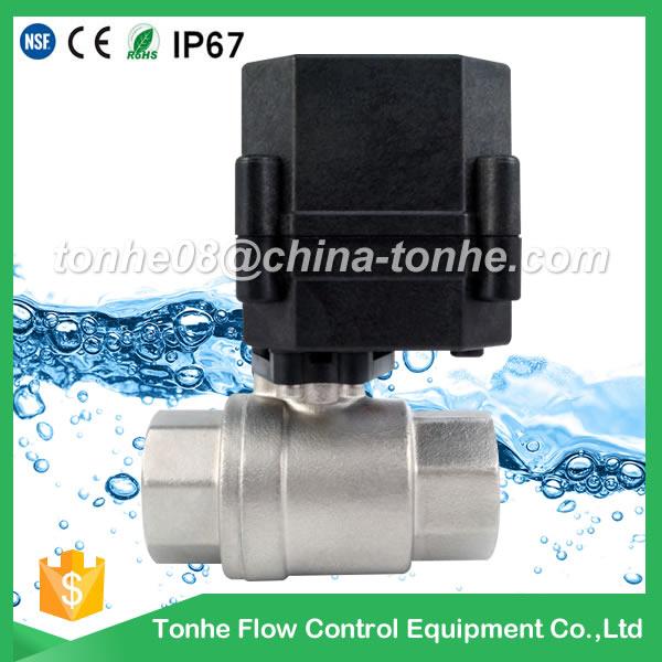 A20-T20-S2-C DN20 SS304 black actuator DC9-24 motorized valve