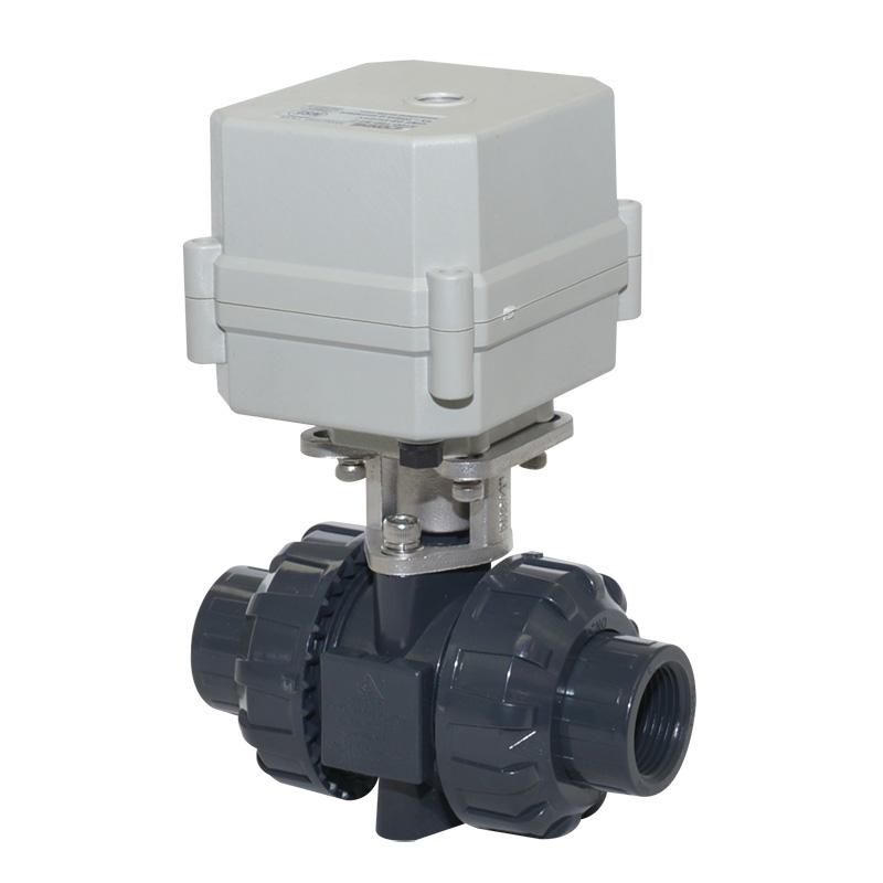 A100-T20-P2-C DN20 PVC UPVC plastic motorized true union valve