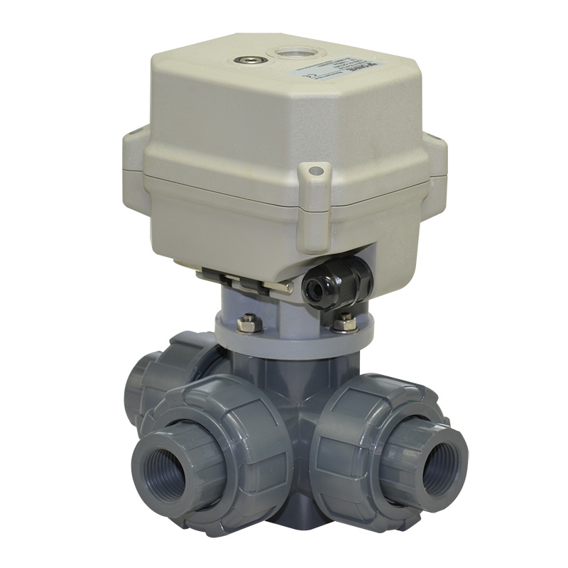 A150-T15-P3-B 3 way PVC motorized ball valve true union