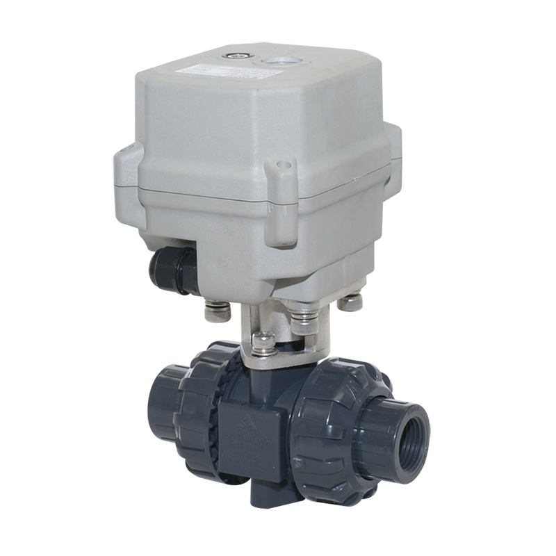 A150-T15-P2-B DN15 motorized pvc ball valves with manual override