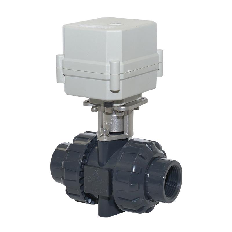 A100-T25-P2-C DN25 1 inch PVC plastic motorized true union valve