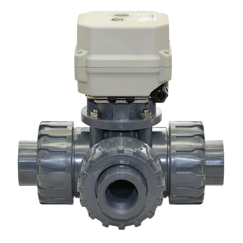 A150-T25-P3-B 1 inch DN25 3 way PVC motorized ball valve