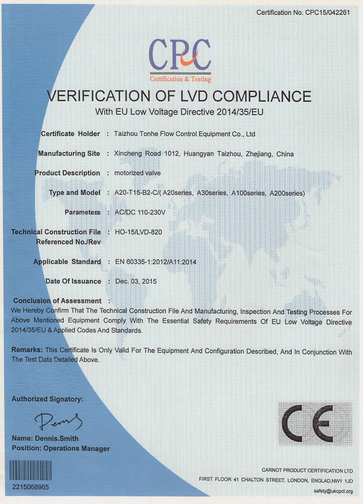 Tonhe CE-LVD approved