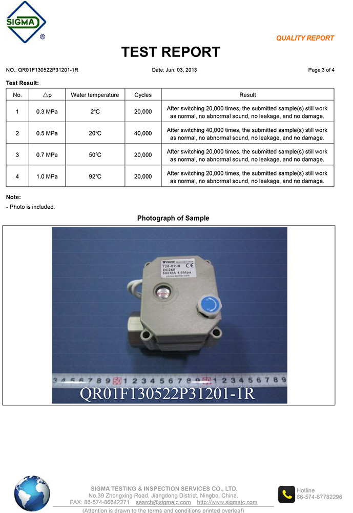 Stainless steel motorized valve test report