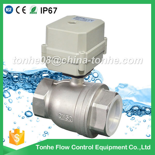 A100-T50-S2-C 2 inch DN50 NPT BSP stainless steel motorized ball valve electric valve