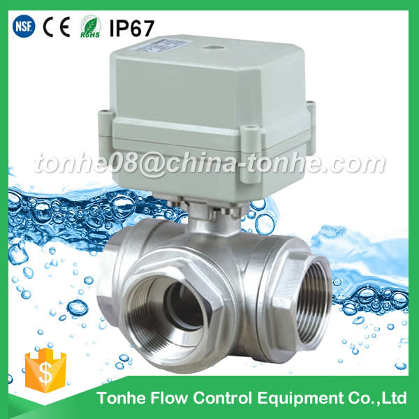 A100-T25-S3-C DN25 stainless steel DC12V 3 wires 3 way motorized valve L type