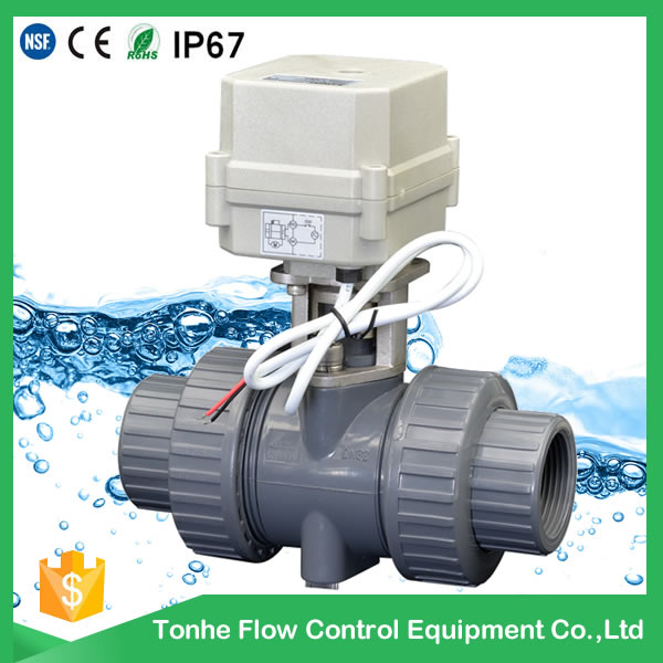 A100-T20-P2-C DN20 PVC UPVC plastic motorized valve normally closed