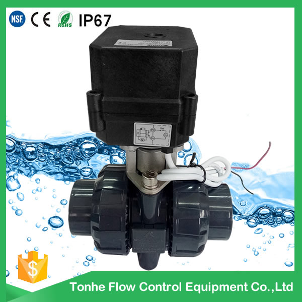 A20-T15-P2-C 0.5 inch GIN ANSI standard PVC motorized valve black actuator normally closed