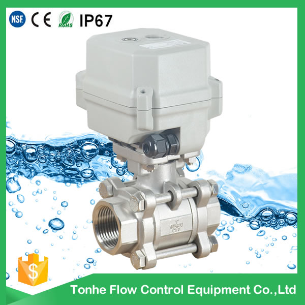A150-T25-S2-B 2 way 3pcs SS304 mtorized valve with manual override
