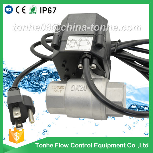 A20-T25-S2-C DN25 SS304 NPT thread 120 vac power USA 3 prong power cord USA plug motorized valve